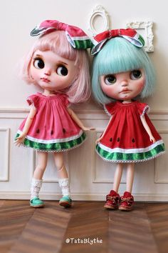 A What A melon DressFor Blythe by Tatablythe on Etsy Pretty Dolls, Beautiful Dolls, Ooak Dolls, Blythe Dolls, Barbie, Perfect Pink, Doll Repaint, Little Doll, Hello Dolly