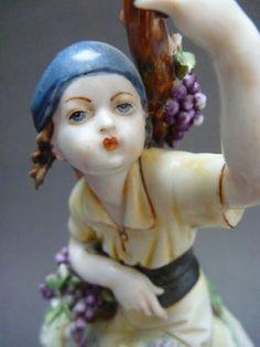 Antique Italy Capodimonte Girl Grapes Figurine