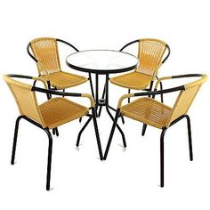 5 #piece bistro set garden patio tan wicker rattan #outdoor furniture #table chai,  View more on the LINK: http://www.zeppy.io/product/gb/2/361503127464/