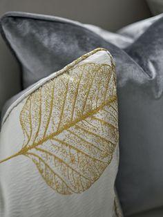 Custom bespoke handmade cushion detail, gold, yellow, blue, embroidered, velvet.