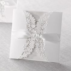 Wedding Invitations - Silver | Laser Cut Floral Wrap | B Wedding Invitations