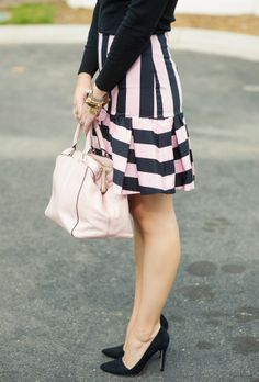 Pink and black striped peplum skirt-Kacee from Life with Lipstick On