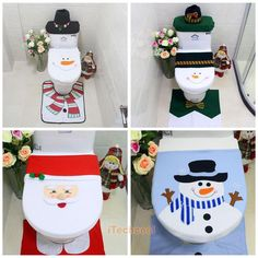 4 Styles Christmas Xmas Toilet Seat Lid Cover Covers Bathroom Home Decoration #