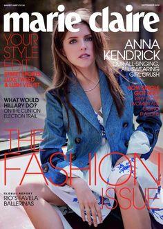 Anna Kendrick for Marie Claire UK September 2016 Cover - Miu Miu Fall 2016