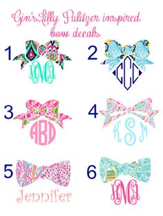 Preppy Monogram Bow Decals Lilly pulitzer inspired crown jewels chiquita first impression jellies be jamming lets cha cha you gotta regatta  and other Lilly patterns perfect for car, water bottles, tumblers, and much more!