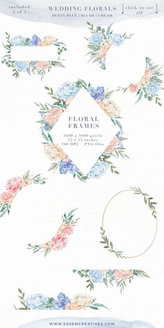 Wedding Watercolor Flowers Graphics Clipart, Dusty Blue Blush Pink Floral Frames Bouquets Wreaths, Digital Borders for Cards, Boy Baby Shower Invitation & Nursery Designs. 'Wedding Florals' is a set of gender neutral hand-painted floral watercolor clipart, floral frames, textures and borders. Features dusty blues, french blue, soft blush pink, peach and cream. Perfect for wedding invitations, baby boy shower invitations, nursery wall art, logos & branding, website headers, planner designs >>