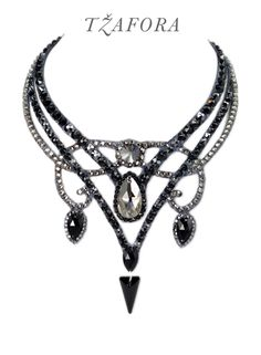 """For all we know"" (jet) - Swarovski ballroom necklace. Ballroom dance jewelry, ballroom dance dancesport accessories. www.tzafora.com Copyright © 2016 Tzafora."
