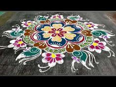 Simple Rangoli Designs Images, Rangoli Designs Flower, Rangoli Ideas, Rangoli Designs With Dots, Kolam Rangoli, Beautiful Rangoli Designs, Mehndi Designs For Hands, Indian Rangoli, Easy Rangoli