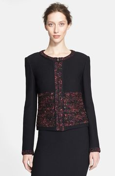 Free shipping and returns on St. John Collection Novelty Ribbon Knit Jacket at Nordstrom.com. Multicolored metallic-flecked ribbons trim a richly textured knit jacket styled with strong shoulders and a boxy fit for a clean, modern silhouette.
