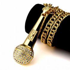 Corrente 9mm Banhada A Ouro 18k com Pingente Microfone