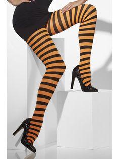Raidalliset sukkahousut. Oranssi-mustaraidalliset värikäs lisä Halloweeniin tai muuten arkipukeutumista piristämään.