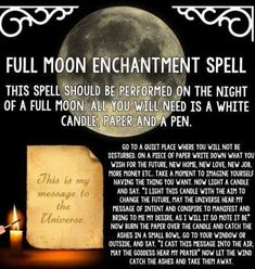 From Spells 'n' Stuff ~ witch witchcraft wicca pagan spell lunar moon candle magic More of a spell to soth and or help have hope for the future Magick Spells, Candle Spells, Candle Magic, Hedge Witchcraft, Luck Spells, Voodoo Spells, Pagan Witchcraft, Full Moon Spells, Full Moon Ritual
