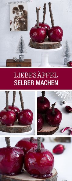 Rezepte für Silvester: Liebesäpfel als Hingucker-Dessert für Neujahr / recipe ideas for the new years eve party: dark red candy apples via DaWanda.com