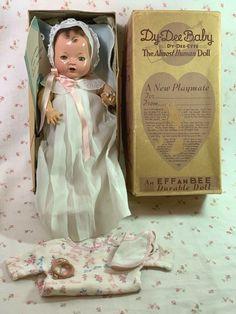 "1930's Effanbee 11"" Dy-Dee Ette Baby Doll Mold 1 in BOX #Effanbee Boy Doll, Girl Dolls, Vintage Dolls, Retro Vintage, Childrens Dolls, Human Doll, Effanbee Dolls, Valley Of The Dolls, Old Dolls"