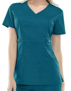 Cherokee Luxe Junior Two-Pocket Mock Wrap Scrub Top Cute Scrubs Uniform, Scrubs Outfit, Scrubs Pattern, Doctor Scrubs, Moda Chic, Nursing Clothes, Scrub Pants, Drawstring Pants, Scrub Tops