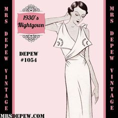 Vintage Sewing Pattern 1930's French Night Gown or Slip in Any Size- PLUS Size Included- Depew 1054 -INSTANT DOWNLOAD-