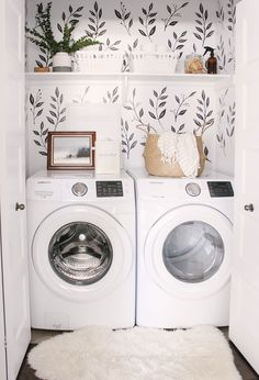 We love this small closet laundry room! Who says a small laundry room can't make a statement? The black & white wall decals tie the space together. Small Laundry Room - Home Decor - Farmhouse Laundry Room - Wall Paper Laundry Room