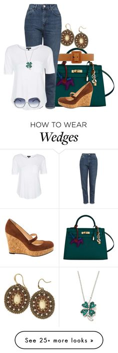 """Emerald Green Bag"" by gethelookforless on Polyvore featuring Hermès, Christian Louboutin, Michael Kors, Topshop, Oliver Peoples, Sevil Designs, women's clothing, women, female and woman"