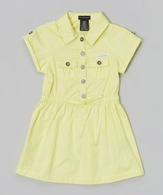 This Yellow Button-Up Dress - Infant, Toddler & Girls by Calvin Klein Jeans is perfect! #zulilyfinds