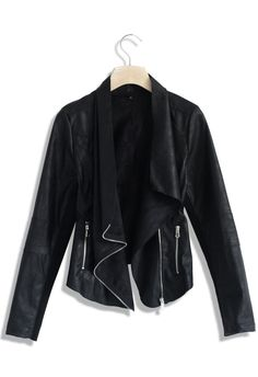 Asymmetric Waterfall Leather Jacket - Retro, Indie and Unique Fashion