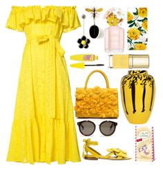 """""""Sunny Yellow Cottons"""" by pulseofthematter ❤ liked on Polyvore featuring Lisa Marie Fernandez, Olgana, Sonix, Marc Jacobs, Maybelline, Dolce&Gabbana, Ceramica Gatti 1928, STELLA McCARTNEY and Lindt"""