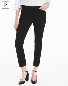 These universally flattering pants feature a classic rise and a cropped silhouette, which make the legs look longer. Made from stretch knit fabrication, this style is designed to fit like a glove. We love them with our White Off-the-Shoulder Bell-Sleeve Poplin Top and Black Patent Chunky Heels for a look that takes you beyond the office. WHBM | Petites Fashion