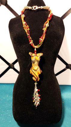 "Autumn Goddess Lampwork Pendant 19"" Beaded Necklace"