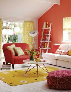 Beautiful living room decorating ideas and inspiration from House Beautiful Colourful Living Room, Bright Rooms, Beautiful Living Rooms, Color Terracota, Interior And Exterior, Interior Design, Curtain Styles, Room Paint, House Colors