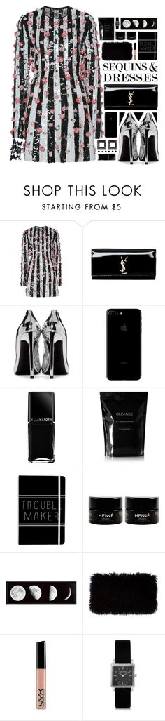 """""Party On: Long Sleeve Dresses"" - Contest"" by arierrefatir ❤ liked on Polyvore featuring Giambattista Valli, Yves Saint Laurent, Illamasqua, Cleanse by Lauren Napier, Donna Karan, NYX, Isabel Marant, Sequins, stripeddress and longsleeve"