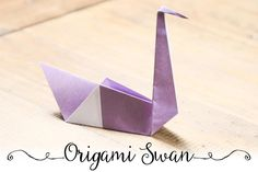 Learn how to fold an Origami Swan with this easy step by step photo tutorial. This origami swan makes a great wedding decoration or chopstick holder. Easy Origami For Kids, Cute Origami, Origami Star Box, Origami Envelope, How To Make Origami, Useful Origami, Origami Ideas, Origami Swan, Origami Rose