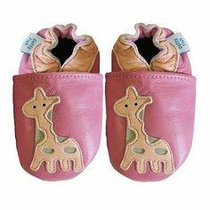 Dotty Fish, Weiches Leder Babyschuhe mit Wildledersohle. Rosa Giraffendesign - Neugeborene Dotty Fish, http://www.amazon.de/dp/B00C2O7GS6/ref=cm_sw_r_pi_dp_nBzdsb14W01H5