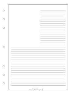 This journal page with room for a photo or drawing in the upper left corner goes on the right-hand side of your executive organizer sized datebook. The lines wrap around a blank area so you can add a photo, clippings, sketches, or other memorabilia. Free to download and print