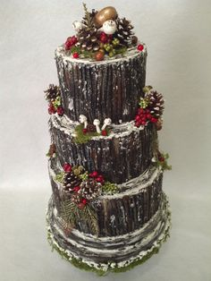 Buche de Noel Wedding Cake ~ Fake Yule Log Cake ~ Artificial Christmas Keepsake…