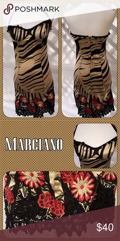 💋Sexy Slip Dress💋 Very sexy and slinky slip dress made of 97% Silk and 3% Spandex. It has an adjustable halter strap and beautiful flower and lace detail at the hem. Marciano Dresses