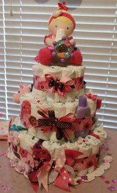 Baby Girl Pink and Brown Diaper Cake by MumsiesBowtique on Etsy, $85.00