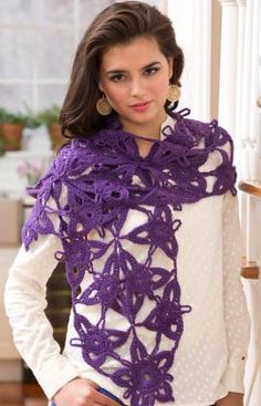 Passion for Purple Scarf, free crochet pattern by Kristin Omdahl on Red Heart Yarns