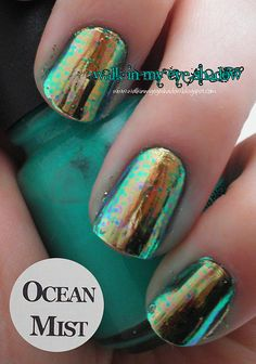 Pinned by www.SimpleNailArtTips.com SIMPLE NAIL ART DESIGN IDEAS -   Walk In My Eye Shadow: Foil Focus Friday: Ocean Mist