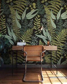 jungle wallpaper / lady boss office decor
