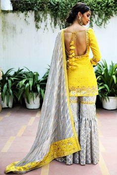 Buy sunflower yellow short kurta with grey tissue net garara online in USA. Get wedding ready with a New Wedding Dress Indian, Wedding Dress Winter, Dress Indian Style, Indian Bridal Wear, Dress Wedding, Wedding Suits, Indian Wear, Saree Wedding, Yellow Fashion