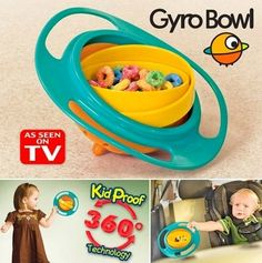 Gyro Bowl- Spill Resistant Kids Gyroscopic Bowl with Lid NPI
