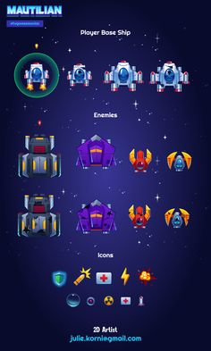 Spaceships and icons for Mautilian game. Game Background Art, Robot Cute, Alien Games, Ocean Illustration, 2d Game Art, Space Games, Spaceship Design, Game Icon, Game Concept