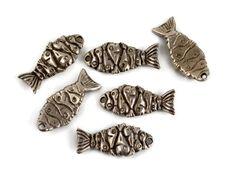 4 Mykonos Fishy Fish Charms  Pewter  Greek by createyourbliss, $5.40