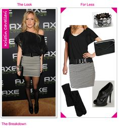 Kristin Cavallari In A Striped Skirt & Flutter Top | The Looks For Less