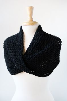 Shoulder Wrap or Infinity Cowl in Black, from  Elena Rosenberg Wearable Fiber Art