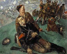 Kuzma Petrov-Vodkin, Death of a Comissary, 1920s shakko-kitsune.livejournal.com
