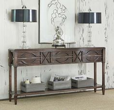 Spindle Distressed Console Table Western Sofa Tables Made Of Gmelina Solids With A Dark
