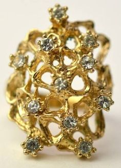 Gold Toned Free Form Organic Ring with White Rhinestones