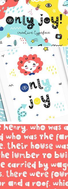 Only Joy typeface Kid Fonts, Cute Fonts, Poster Fonts, Posters, Summer Font, Geometric Font, Branding Design, Logo Design, Vintage Fonts