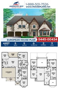 Full of European details and charm, Plan 5445-00434 features 4,827 sq. ft., 5 bedrooms, 5 bathrooms, a kitchen island, an open floor plan, a media room, a sitting room, and a study. #europeanhome #twostoryhome #architecture #houseplans #housedesign #homedesign #homedesigns #architecturalplans #newconstruction #floorplans #dreamhome #dreamhouseplans #abhouseplans #besthouseplans #newhome #newhouse #homesweethome #buildingahome #buildahome #residentialplans #residentialhome House Plans 2 Story, Best House Plans, Dream House Plans, House Floor Plans, Cedar Homes, European House Plans, House Blueprints, House Layouts, Outdoor Lounge