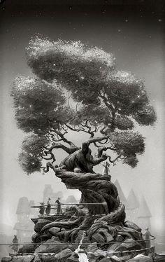 Might have to make a model of this Jim Madsen Illustration Art And Illustration, Fantasy Kunst, Fantasy Art, Environment Concept Art, Fantasy Landscape, 2d Art, Environmental Art, Types Of Art, Tree Art